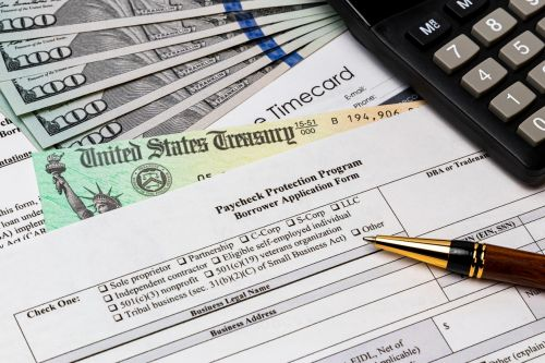 Paycheck protection program application for small business payroll support from federal government stimulus bill during Covid-19 coronavirus pandemic